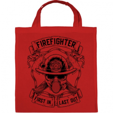 PRINTFASHION Tűzoltó - Elsőként bemenni, utolsóként kijönni! - Vászontáska - Piros