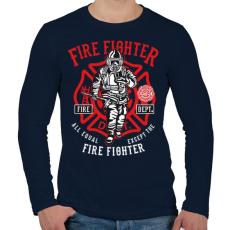 PRINTFASHION Tűzoltó - Férfi hosszú ujjú póló - Sötétkék
