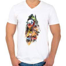 PRINTFASHION Tűzoltó - Férfi V-nyakú póló - Fehér