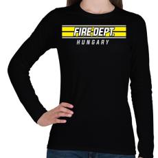 PRINTFASHION Tűzoltóság Magyarország - Női hosszú ujjú póló - Fekete