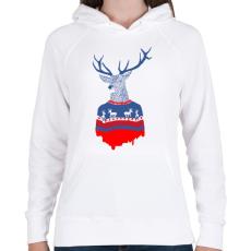 PRINTFASHION Ugly winter pulover - Női kapucnis pulóver - Fehér