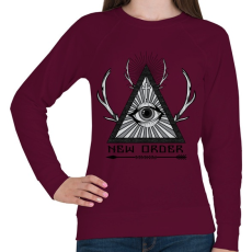 PRINTFASHION Új rend  - Női pulóver - Bordó
