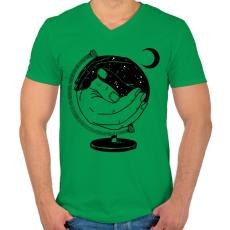 PRINTFASHION Új világ - Férfi V-nyakú póló - Zöld