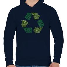 PRINTFASHION Újrahasznosítás - Férfi kapucnis pulóver - Sötétkék