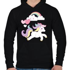 PRINTFASHION Unikornis imádat - Férfi kapucnis pulóver - Fekete