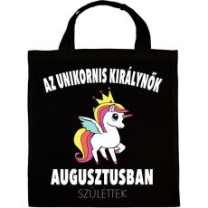 PRINTFASHION Unikornis királynők augusztusban születtek (MAGYAR) - Vászontáska - Fekete