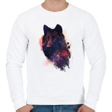 PRINTFASHION Universal wolf - Férfi pulóver - Fehér