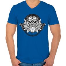 PRINTFASHION Ünnepi koponya - Férfi V-nyakú póló - Királykék