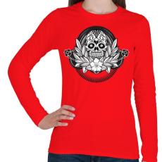 PRINTFASHION Ünnepi koponya - Női hosszú ujjú póló - Piros