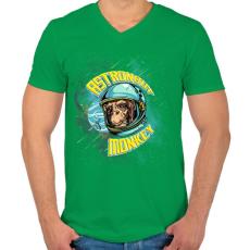 PRINTFASHION Űrhajós majom - Férfi V-nyakú póló - Zöld