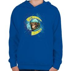 PRINTFASHION Űrhajós majom - Gyerek kapucnis pulóver - Királykék