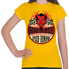 PRINTFASHION Út a pokolban - Női póló - Sárga