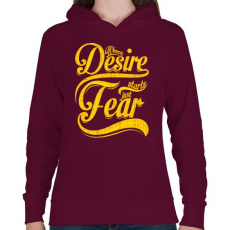 PRINTFASHION Vágy vagy félelem - Női kapucnis pulóver - Bordó