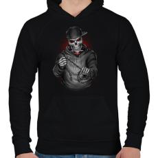 PRINTFASHION Végrehajtó - Férfi kapucnis pulóver - Fekete
