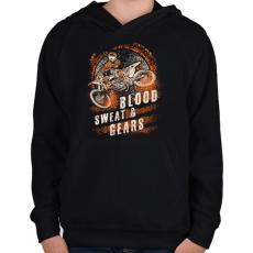 PRINTFASHION Vér, veríték és sebesség - Gyerek kapucnis pulóver - Fekete