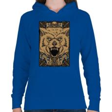 PRINTFASHION Vérszomjas farkas - Női kapucnis pulóver - Királykék