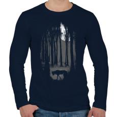 PRINTFASHION Veszélyes terület - Férfi hosszú ujjú póló - Sötétkék