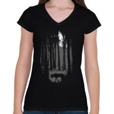 PRINTFASHION Veszélyes terület - Női V-nyakú póló - Fekete