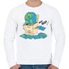 PRINTFASHION Vicces Föld bolygó - Férfi pulóver - Fehér