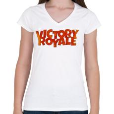 PRINTFASHION Victory Royale - Női V-nyakú póló - Fehér