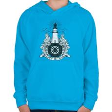 PRINTFASHION Világítótorony - Gyerek kapucnis pulóver - Azúrkék