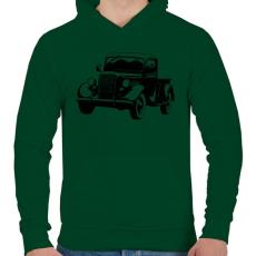 PRINTFASHION Vintage truck - Férfi kapucnis pulóver - Sötétzöld