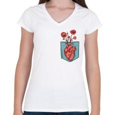 PRINTFASHION Virágzó szív - Női V-nyakú póló - Fehér