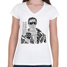 PRINTFASHION Visszatérek - Női V-nyakú póló - Fehér