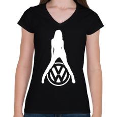 PRINTFASHION Volkswagen fan - Női V-nyakú póló - Fekete