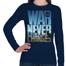 PRINTFASHION War never changes - Női hosszú ujjú póló - Sötétkék