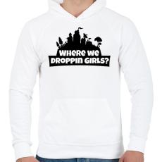 PRINTFASHION WhereWeDroppingGirls - Férfi kapucnis pulóver - Fehér