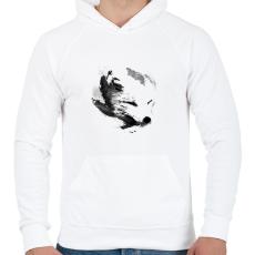 PRINTFASHION White fox - Férfi kapucnis pulóver - Fehér