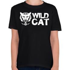 PRINTFASHION Wild Cat - Gyerek póló - Fekete