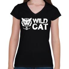 PRINTFASHION Wild Cat - Női V-nyakú póló - Fekete