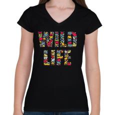 PRINTFASHION WILD LIFE - Női V-nyakú póló - Fekete