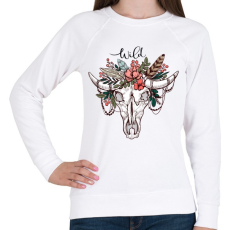 PRINTFASHION Wild Skull - Női pulóver - Fehér