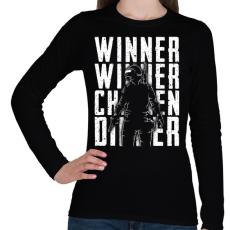 PRINTFASHION Winner Winner Chicken Dinner - Női hosszú ujjú póló - Fekete