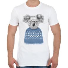 PRINTFASHION Winter koala - Férfi póló - Fehér