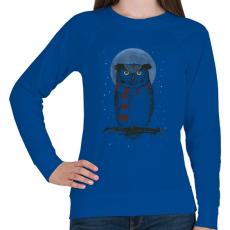 PRINTFASHION Winter owl - Női pulóver - Királykék