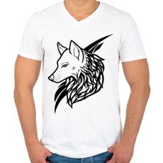 PRINTFASHION Wolf Black - Férfi V-nyakú póló - Fehér