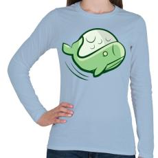 PRINTFASHION Zöld bálna - Női hosszú ujjú póló - Világoskék