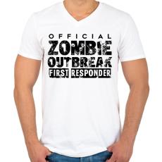 PRINTFASHION Zombi apokalipszis - Férfi V-nyakú póló - Fehér
