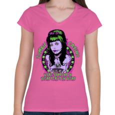 PRINTFASHION Zombi kaszinó - Női V-nyakú póló - Rózsaszín