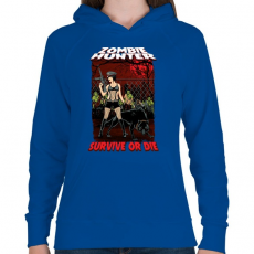 PRINTFASHION Zombi vadász - Női kapucnis pulóver - Királykék