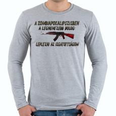 PRINTFASHION Zombiapokalipszis - Férfi hosszú ujjú póló - Sport szürke