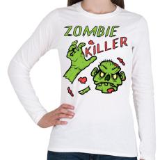 PRINTFASHION Zombie Killer - Női hosszú ujjú póló - Fehér