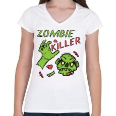 PRINTFASHION Zombie Killer - Női V-nyakú póló - Fehér