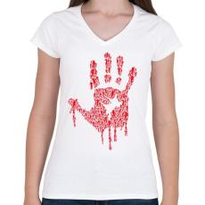PRINTFASHION Zombikéz - Női V-nyakú póló - Fehér