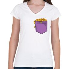 PRINTFASHION ZSEB-Aranyérmék - Női V-nyakú póló - Fehér