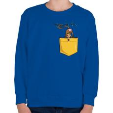 PRINTFASHION ZSEB-Majom fenék - Gyerek pulóver - Királykék